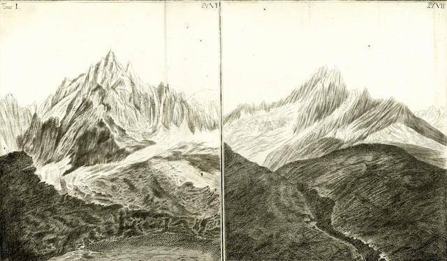 SAUSSURE (HORACE-BÉNEDICT de) Voyages dans les Alpes précédes d'un essai sur l'histoire naturelle des environs de Geneve, 4 vol., 1779-1796