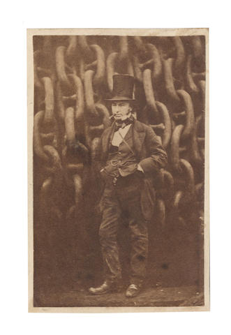 BRUNEL (ISAMBARD KINGDOM) HOWLETT (ROBERT) A carte de visite portrait of Brunel infront of the launching chains of the <i>SS Great Eastern</i>, London Stereoscopic Company, [1857]