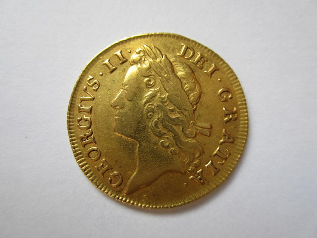 George II, Guinea, 1734, second young laureate head,
