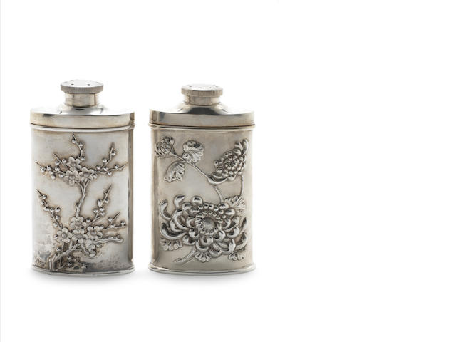 A pair of Chinese  silver powder flasks by Wang Hing, stamped 90  (2)
