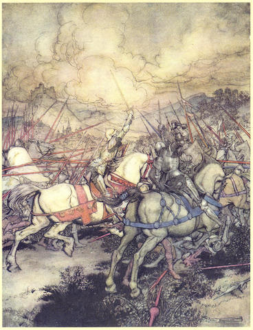 RACKHAM (ARTHUR) POLLARD (ALFRED W.) The Romance of King Arthur, NUMBER 500 OF 500 COPIES SIGNED BY THE ARTIST, 1917