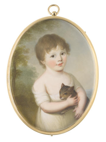 James Leakey (British, 1773-1865) Mrs Jane Pennell (née Hyde) (1799-1876) as a young girl, standing before a landscape, holding a kitten in her arms and wearing white short sleeved dress cut to her shoulders, her brown hair cut short