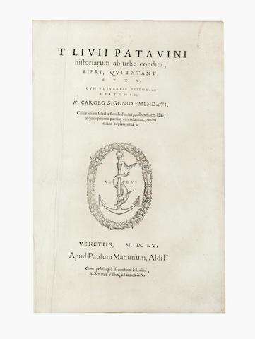 ALDINE PRESS LIVIUS (TITUS)  Historiarum ab urbe condita, 1555