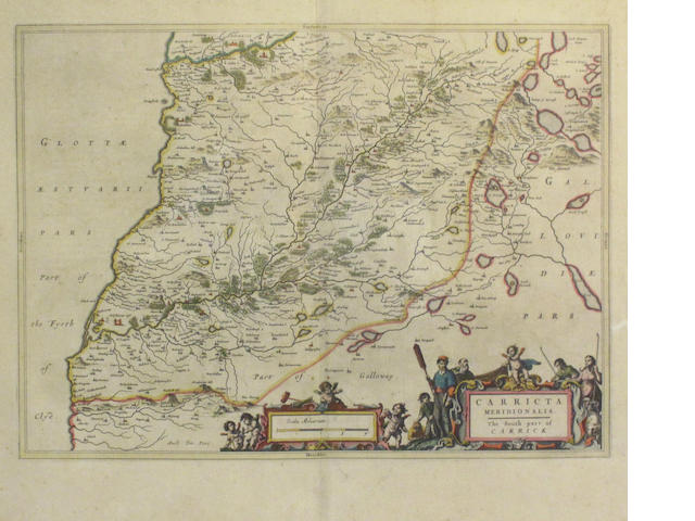 MAP - SOUTH CARRICK [BLAEU (JAN)]  Carricta Meridionalis, The South Part of Carrick