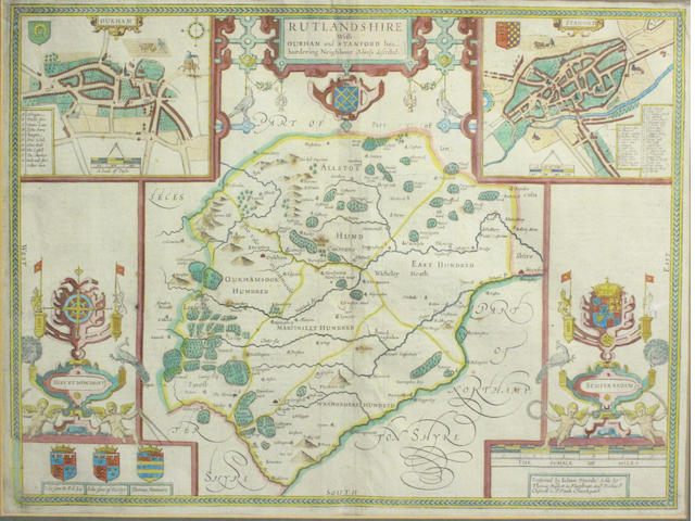 MAP - RUTLAND SPEED (JOHN) Rutlandshire with Oukham and Stanford her bordering Neighbour Newely described
