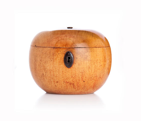 A fruitwood tea caddy,Probably Continental,
