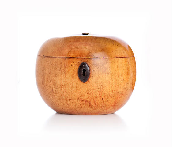 A fruitwood tea caddy, Probably Continental,