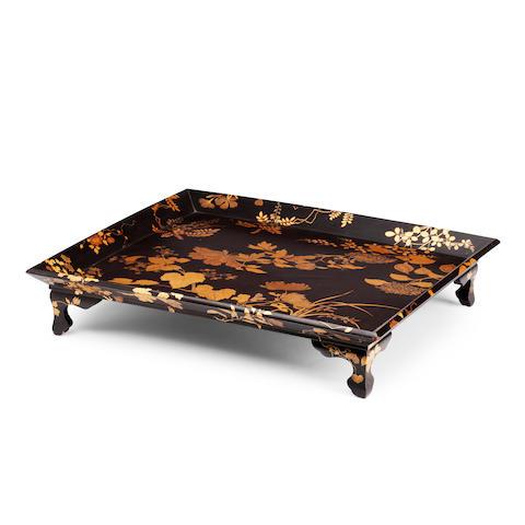 A black lacquer tray Meiji