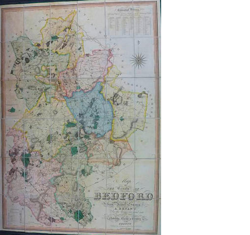 BEDFORDSHIRE BRYANT (A.) Map of the County of Bedford From Actual Survey, 1826
