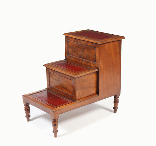 A mid-19th Century mahogany three tier library step