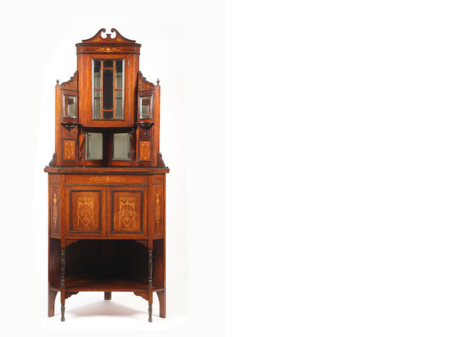 An Edwardian inlaid rosewood three tier standing corner cabinet,