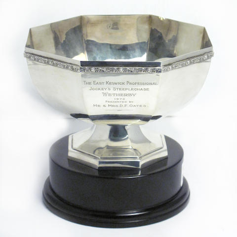 A silver bowl (racing trophy) with maker's mark of S.J.R, London 1970