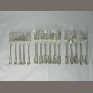Eleven silver fiddle and thread pattern dessert forks six by Charles Eley, London 1828 and five probably J. Whiting, London 1838