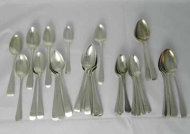 A collection of various silver teaspooons the majority early 19th century  (29)