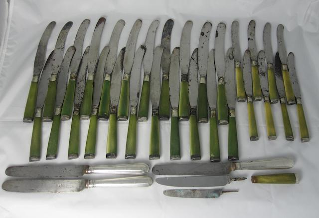 Twenty two table and eight side knives London, circa 1820