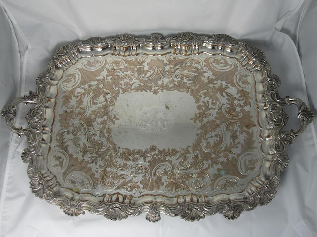 A Sheffield plate tea tray Circa 1835