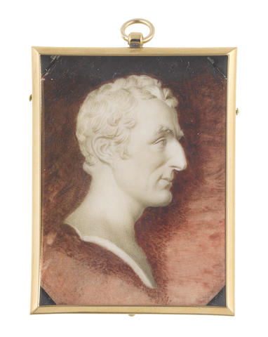 William Grimaldi (British, 1751-1830) after Joseph Nollekens (British, 1737-1823) A trompe l'oeil cameo portrait miniature of a marble bust of Arthur Wellesley, 1<sup>st</sup> Duke of Wellington (1769-1852), profile to the right