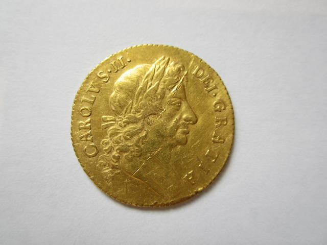 Charles II, Guinea, 1676, fourth laureate head right,
