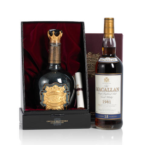 Royal Salute-Stone of Destiny -38 year old (1) <BR /> The Macallan- 1981- 18 year old (1)