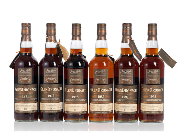 Glendronach- 1971- 39 year old (1) <BR /> Glendronach- 1972- 38 year old (1) <BR /> Glendronach- 1978- 33 year old (1) <BR /> Glendronach- 1989- 23 year old (1) <BR /> Glendronach- 1991- 18 year old (1) <BR /> Glendronach- 1993- 19 year old (1)