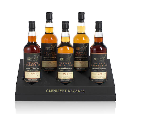 Gordon & MacPhail-Glenlivet Decades Private Collection<BR /> Glenlivet- 1954 (1) <BR /> Glenlivet- 1963 (1) <BR /> Glenlivet- 1974 (1) <BR /> Glenlivet- 1980 (1) <BR /> Glenlivet- 1991 (1)