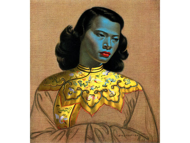 Vladimir Griegorovich Tretchikoff (South African, 1913-2006) Chinese Girl, oil, 30 x 26 in, framed.
