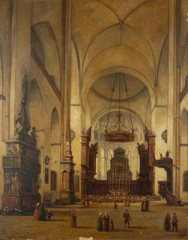 William Henry Haines (British, 1812-1884) Cathedral interior