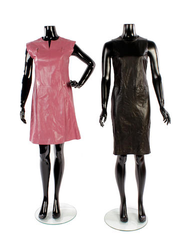 A group of five designer leather dresses and a skirt