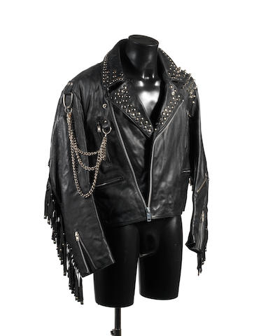 Elton John: The studded leather jacket worn on the cover of the  album 'Leather Jackets', - TO BE RETURNED TO CLIENT 1986, featuring 'Elton John - Angeline' motif to the reverse, 2