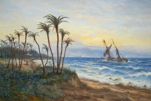 Max Schröder-Greifswald (German, 1858-1920) An African coastal scene