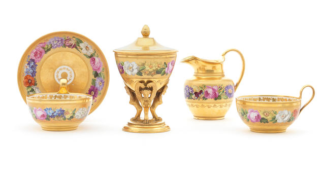 A Vienna sucrier and cover, milk jug, two cups and a saucer, mid-late 19th century