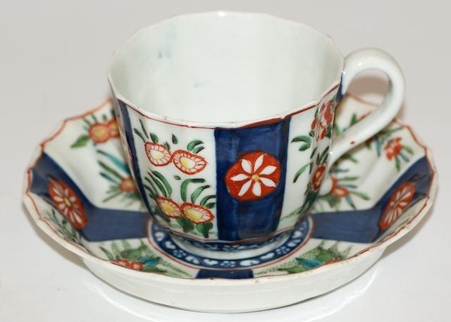 A Worcester fluted porcelain coffee cup and saucer circa 1775