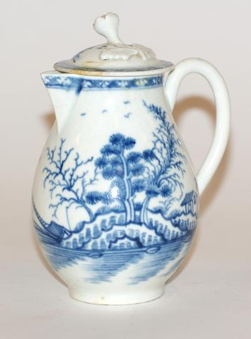 A Worcester porcelain sparrow beak jug and cover, circa 1770