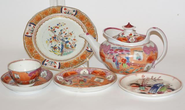 A New Hall porcelain oval tea pot and stand, circa 1785