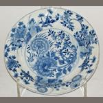A Chinese blue and white porcelain plate, Kangxi