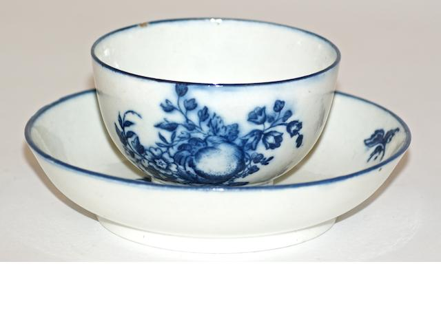 A Caughley porcelain tea bowl and saucer, circa 1780