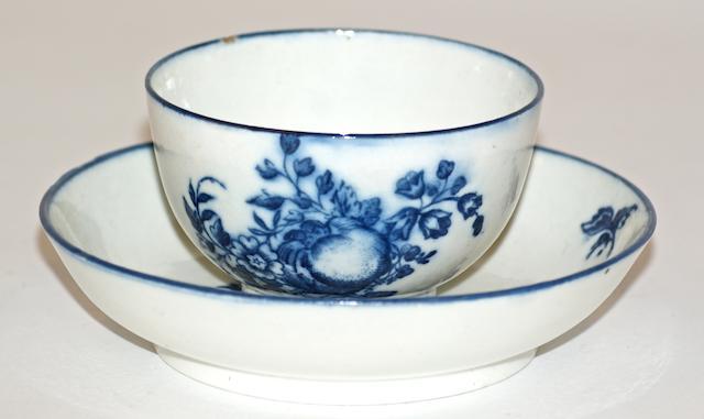 A Caughley porcelain tea bowl and saucer, circa 1780