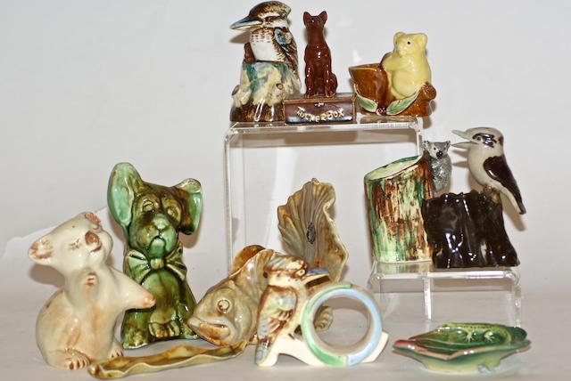 A collection of various glazed earthenware Australia animals