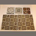A Victorian set of eight Minton floral tiles