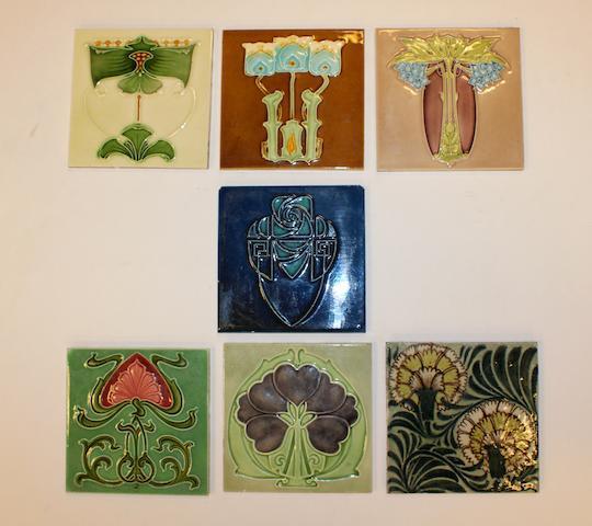 A collection of seven Art Nouveau tiles