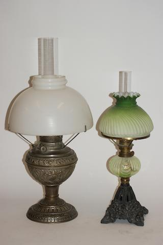 A Victorian pressed metal spirit lamp