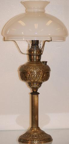 A Victorian gilt pressed metal spirit lamp