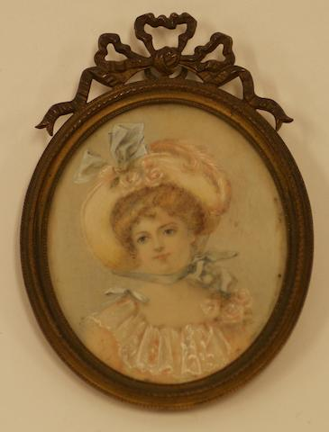 A 19th century miniature on ivory of a lady