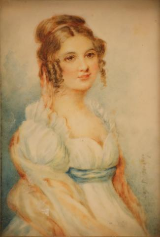 A miniature on ivory of a young girl with ribbon