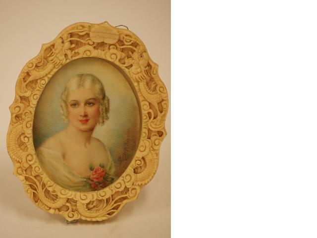 A miniature of a young lady