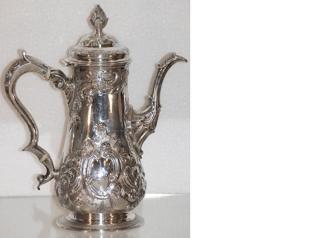 A George II silver baluster coffee pot  by Edward Jay, London 1759