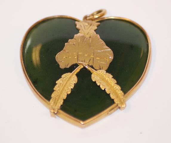 An Australian gold and greenstone heart pendant by Johnson and Simonsen, Melbourne, circa 1895