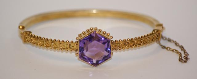 An Australian amethyst and gold bangle, circa 1880