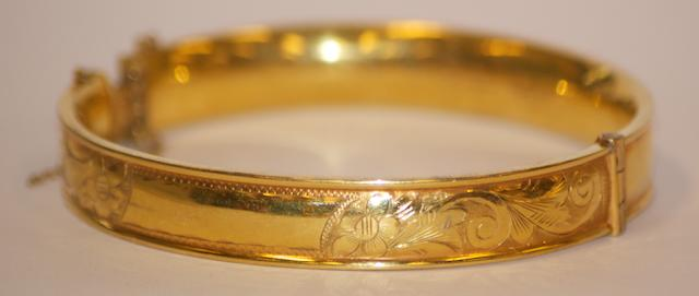 An Australian gold wax filled bangle by Sigmond Hoffnung, Sydney circa 1900