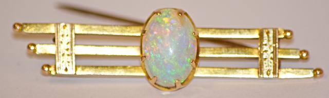 An Australian opal and gold bar brooch, circa 1890
